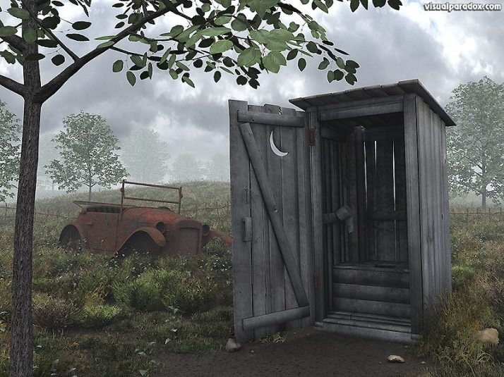 Image -outhouse and old car