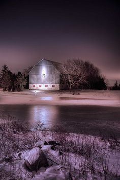 Image -barn at night