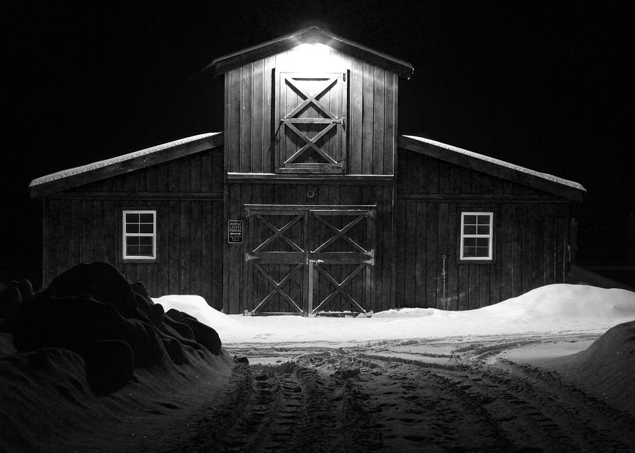 Image -Barn at night